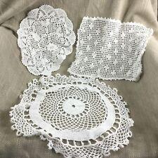 Dentelle Vintage Crochet Chiffons Napperons Tapis Main Fabriqué Mélange Lot Pack