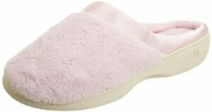 isotoner Women's Microterry PillowStep Satin Cuff Clog Slippers Peony 7.5-8 B...