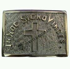 Vintage en hoc SIGNO Vinces Cruz Caballeros de los Templarios Hebilla de Cinturón de Hebilla/Masónica