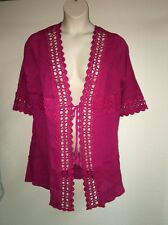 Catherines Kimono Swim Cover Up Womens Plus Size 0X Williamson Pink NWT $69