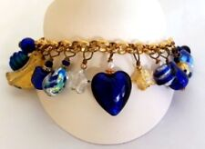REAL Murano Glass -Italian Made- Charm Bracelet Hand Made Cobalt Blue Gift Boxed