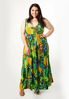 Plus Size Maxi Dress 1X-6X SWAK Tropical Empire Waist Sleeveless Polyester Blend