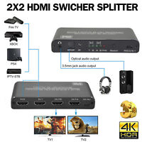 HDM 2.0 Switch 4k 60Hz Konverter 2 in 2 Out Konverter Switcher & Audio Grau