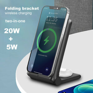 20W Qi Wireless Charger Foldable Charging Stand 2IN1 For Air Pods iPhone 12 Pro