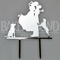 Mr & Mrs Dogs Silver Acrylic Wedding Day Cake Topper Silhouette Vintage Bride