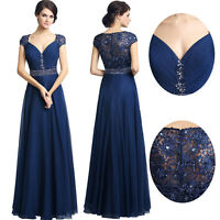 Plus Navy Blue Mother of the Bride Dress Cap Sleeves Wedding Formal Evening Gown