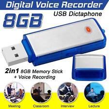 8 GB Digital USB Dictáfono Grabadora de voz dispositivo de escucha espía memoria FlashStick