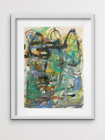 Bold Colorful Gestural Contemporary Small Original Abstract Abstract Angel