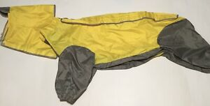 Dog Raincoat Large Pet Rain Jacket Coat Yellow Gray Removable Hood