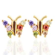 Women Girls Multi-color Cute Butterfly CZ Cubic Zirconia Stud Earrings Jewelry
