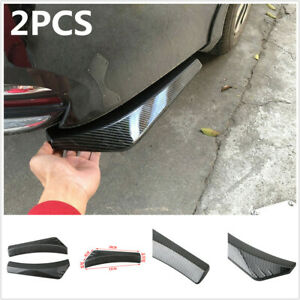 2pcs Carbon Fiber Style Spoiler Splitters Diffuser Universal For Car Rear Bumper