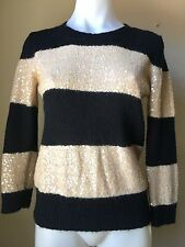 J.Crew Size S Black WYNTER Sweater Sequin Striped Tan Crewneck Pull Over