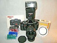 Pentax P3 35mm Camera /Prospec MC Auto Zoom 70mm lens/Achiever FLash+Filters