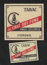 Ancienne étiquette allumette Belgique  BN7864 Tabac  Chat qui fume 1