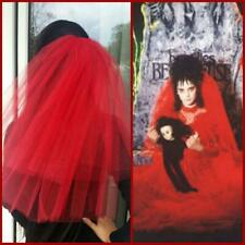 Halloween party 2-tier red Veil Halloween Lydia Deetz veil costume Handmade veil