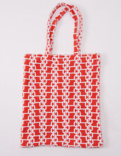 New KITON NAPOLI Red and White Printed Terry Cloth Small Beach-Pool Tote Bag