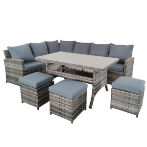 Pipin Rattan Garden Furniture 9 Seat, Corner Sofa Set, Ottomans & Dining Table