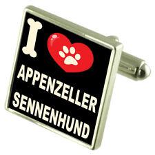 I Love My Dog Silver-Tone Cufflinks Appenzeller Sennenhund