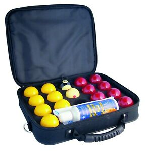 """SUPER ARAMITH PRO CUP 2"""" Red & Yellow Pool Balls 1 7/8 White Ball Cleaner &Case"""