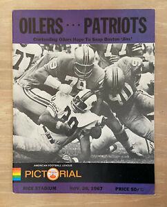 VINTAGE 1967 AFL NFL BOSTON PATRIOTS @ HOUSTON OILERS FOOTBALL PROGRAM - NOV 26