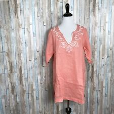 Soft Surroundings TS Tall Embroidered Coral Peach 100% Linen Tunic Top Cover Up