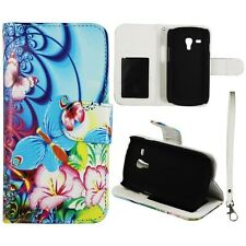 For Samsung Galaxy S3 Mini i8190 Wallet Leather Blue Butterfly Flower Case Cover