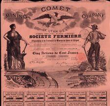 Comet Mining Company of Utah USA Frisco 1889 - Silver & Copper Mines