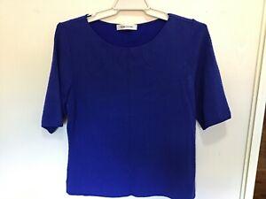 Women's Perri Cutten Royal Blue Textured Size 12-14 Short Sleeved Top