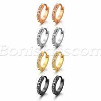 2pcs Men's Women's Stainless Steel CZ Inlaid Small Huggie Hinged Hoop Earrings