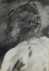 William Brice  (1921 - 2008) Pen and ink wash on paper, Portrait of woman