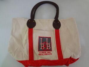 Heavy Canvas Tote w/Real Estate LB&LB Monogram White Red Zippered 19x11x9