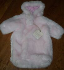 NWT London & Cole SOFT PINK FAUX FUR Bunting Suit LUXE Coat Baby Girl 0-6 M POMS