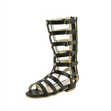 Girl's Stylish Strappy Gladiator Knee High Tall Sandals Shoes Boots Zip