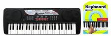 Super Keyboard mit 49 Tasten & 16 Sounds, für Beginner inkl. Notenheft, Schwarz