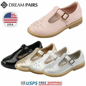 DREAM PAIRS Kids Girls Uniform Dress Shoes T-Strap Mary Jane Shoes Flat Shoes