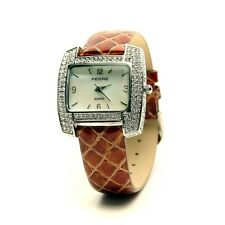 PEDRE Crystal paved cushion shape watch with python strap