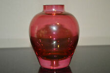 """Cranberry Glass Vase - Very Pretty - Great Condition - 3 1/4"""" tall"""
