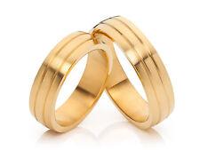2 Eheringe Trauringe Verlobungsringe 18 Karat vergoldet & Lasergravur