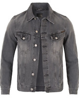 Nudie Men's Slim Fit Denim Jeans Jacket Billy Desolation Grey ( Falls Small Out)