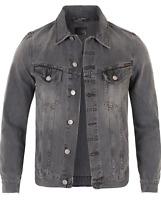 Nudie Herren Slim Fit Denim Jeans Jacke Billy Desolation Grey (fällt klein aus)