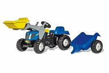 ROLLY TOYS RIDE ON NEW HOLLAND PEDAL TRACTOR WITH LOADER AND TRAILER 2Yrs+ NEW