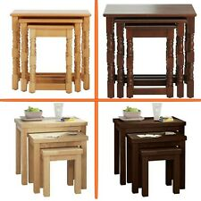 Natural Nest of Tables / Solid Light Lamp Tables / Wood Coffee Pine 3 Table Set