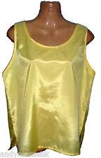 Ladies Sleeveless Thai Silk Blouse / Yellow / Thai XL / UK 18 / FREE POST