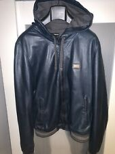 289b5293c046 Dolce and Gabbana leather bomber hoodie jacket 100%real