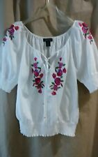 Karen Kanes XL white cotton with brightly colored rose embroidery gypsy blouse