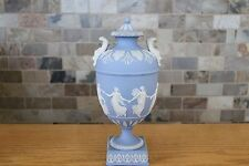 "Antique Wedgwood Light Blue Jasper Ware Dancing Hours 10"" Urn With Lid (c.1879)"
