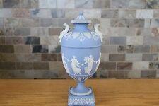 "Antique Wedgwood Light Blue Jasper Ware Dancing Hours 10"" Urn With Lid (c.1879)"