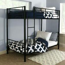 Furniture of Metal-Framed Twin Over Twin Bunk Bed for Kids Adult Children Black