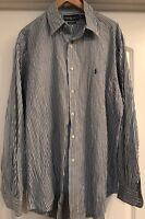 Polo Ralph Lauren Blue & White Striped Classic Fit Dress Shirt, Size 16.5 Large