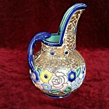 Vintage Marco Amphora Jug Pitcher Raised Multicolour Floral Glaze Japan Art Deco
